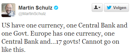 Twitter   MartinSchulz  US have one currency  one Central ...